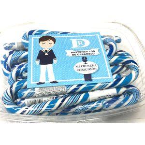 Bastones de Caramelo Azul y Blanco