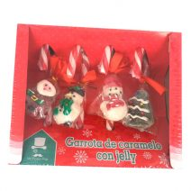Bastones de caramelo con gominola de Navidad