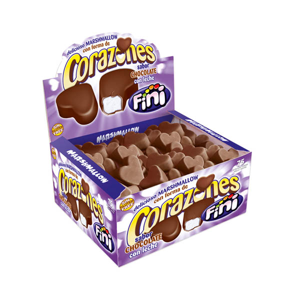 Caja de 75 unidades de corazones de chocolate