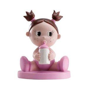 Figura de bebé rosa para bautizo