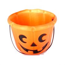 Cubo calabaza con asa de Halloween