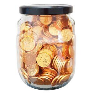 Interdulces - Bombonera de Cristal con Monedas de Chocolate