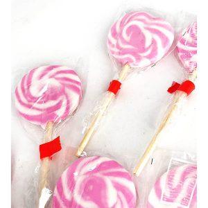 Piruleta redonda rosa y blanco