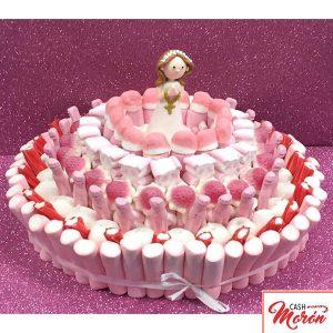 Tarta de chuches rosas