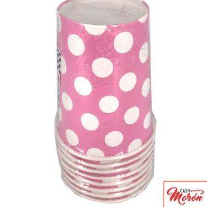 Vaso rosa con lunares
